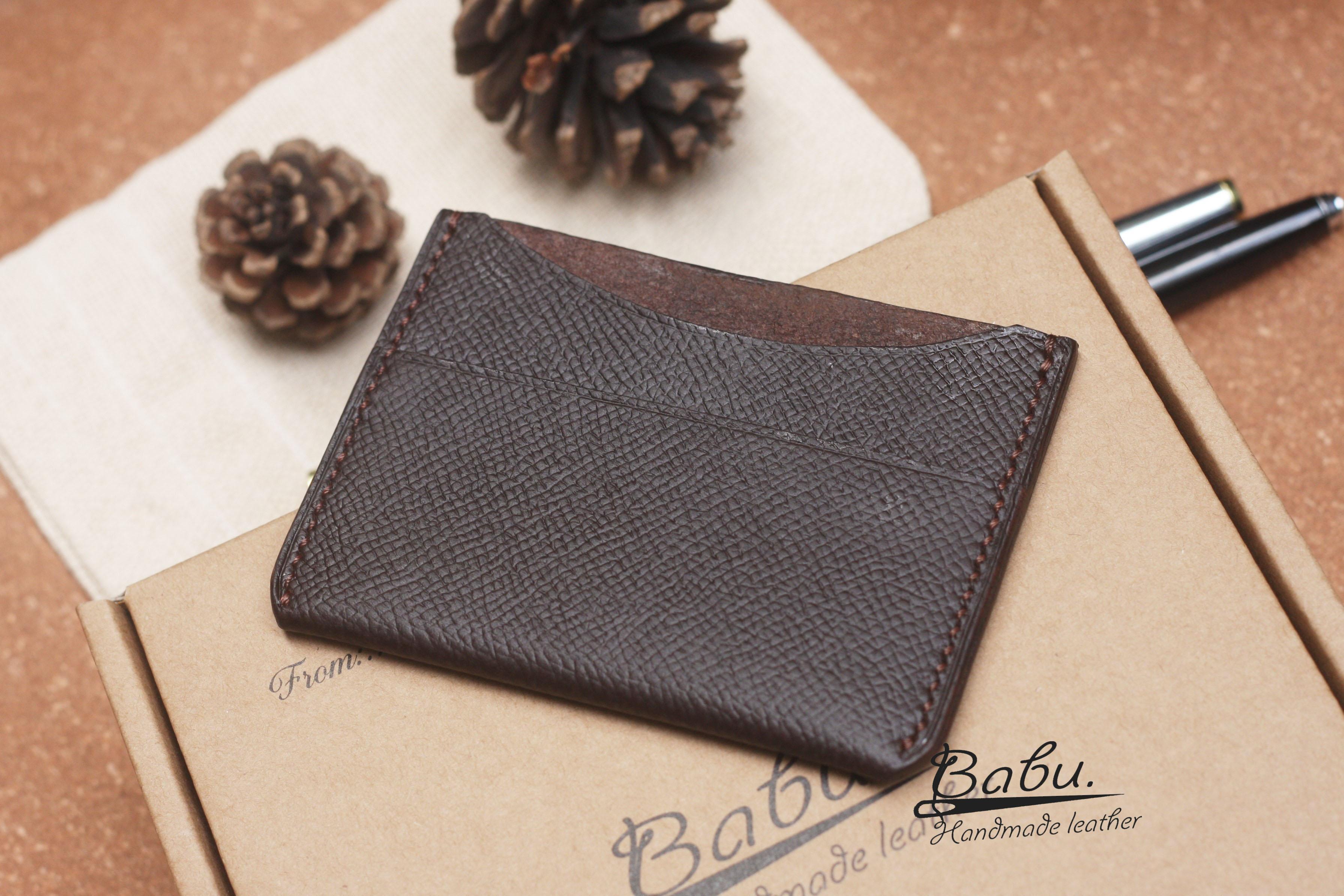 dark brown epsom name card holder wl071  babu handmade
